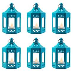 6pc Mini Blue LED Candle Lanterns