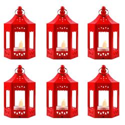 6pc Mini Red LED Candle Lanterns