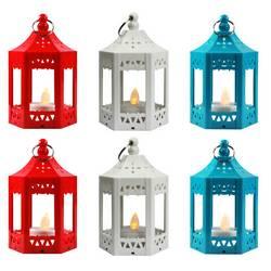 6pc Mini Red/White/Blue LED Candle Lanterns