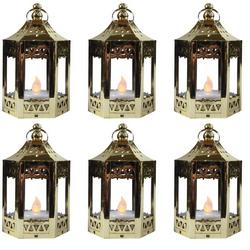 6pc Mini Gold LED Candle Lanterns