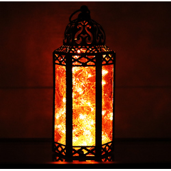 Amber Candle Lantern with LED Fairy Lights