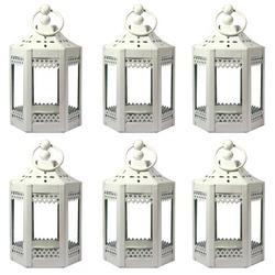 6pc Mini White Metal Tealight Lanterns