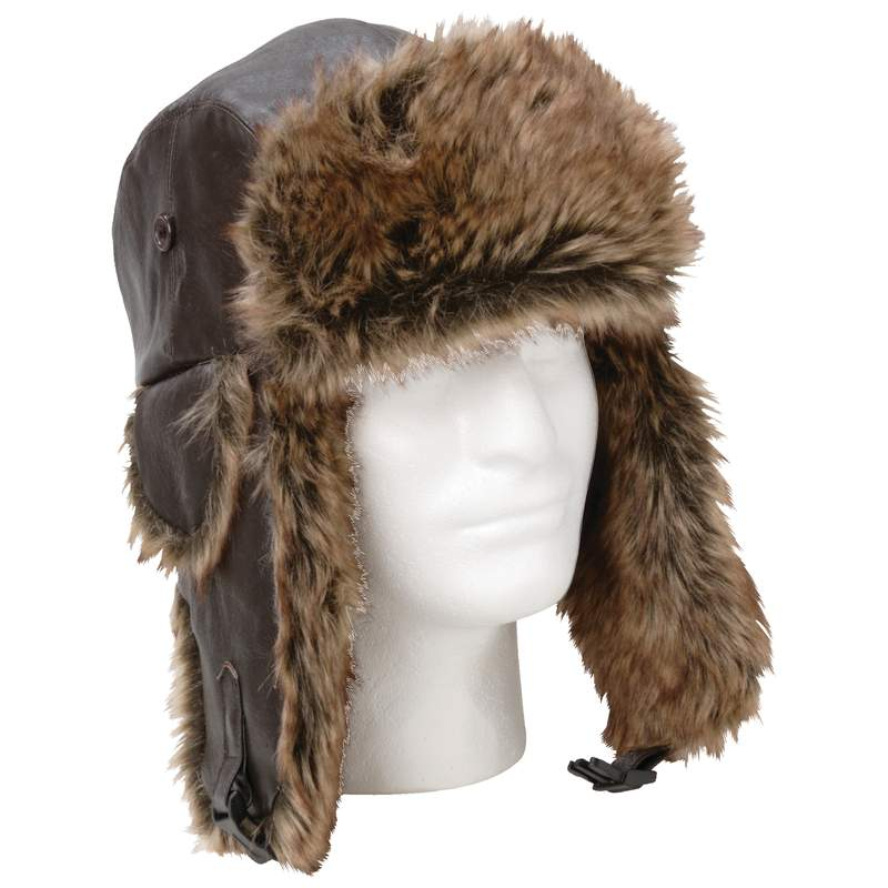 Solid Genuine Leather Aviator-Style Winter HAT