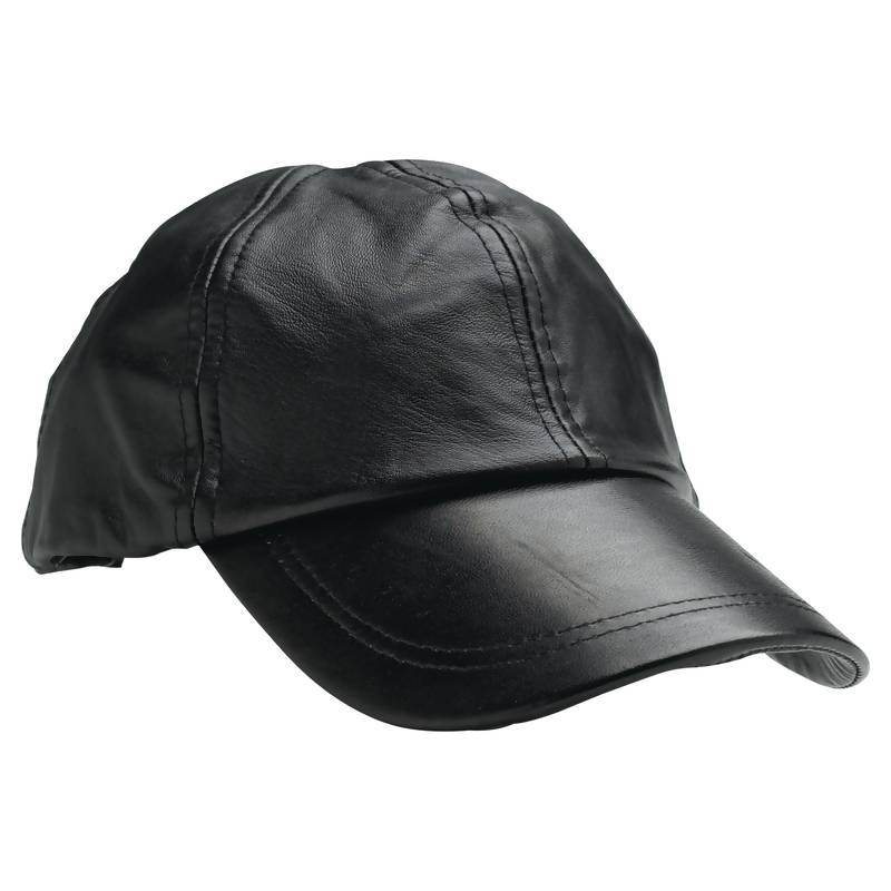 leather baseball cap with fur pom wholesale solid genuine faux black