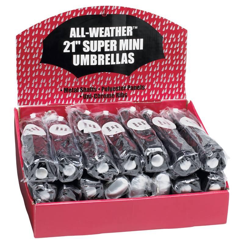 Wholesale 24pc Set of Black Mini Umbrellas in Display Box for sale at bulk cheap prices!
