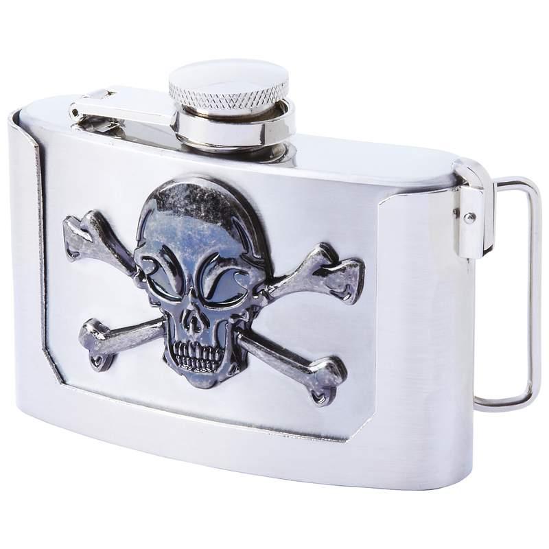 3oz BELT BUCKLE Flask with Skull & Crossbones