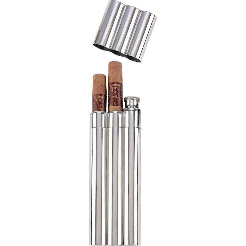 2oz Flask with 2 CIGAR Tubes in Remailer Box