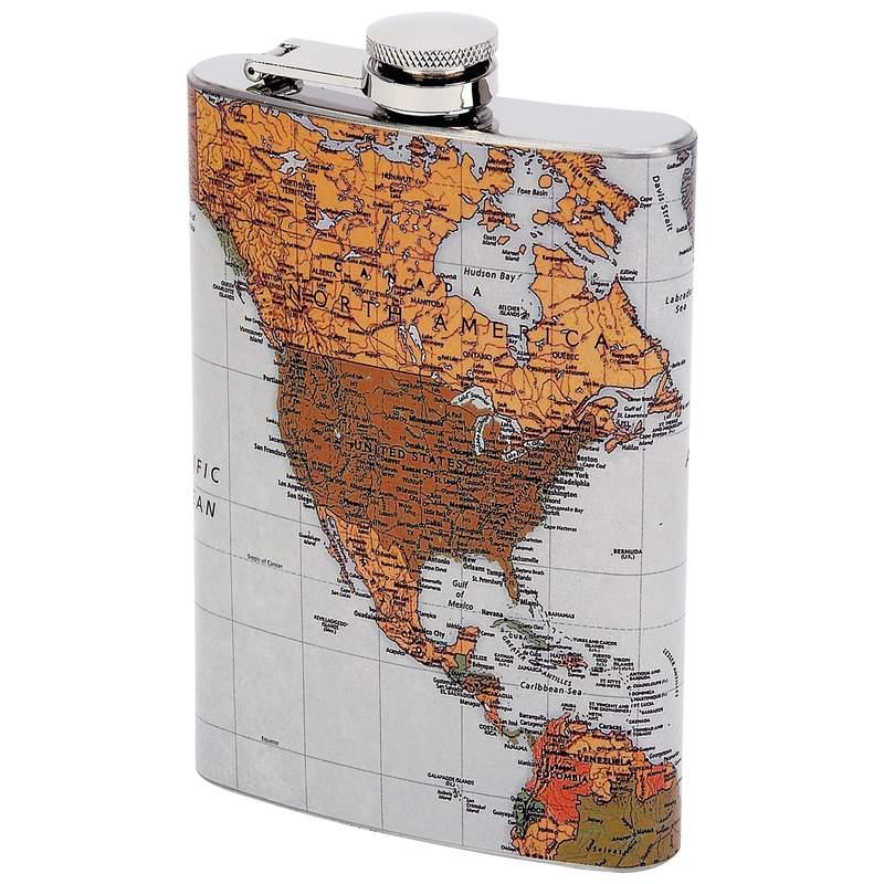 Wholesale 8oz Flask With Antique World Map Buy Wholesale Flasks