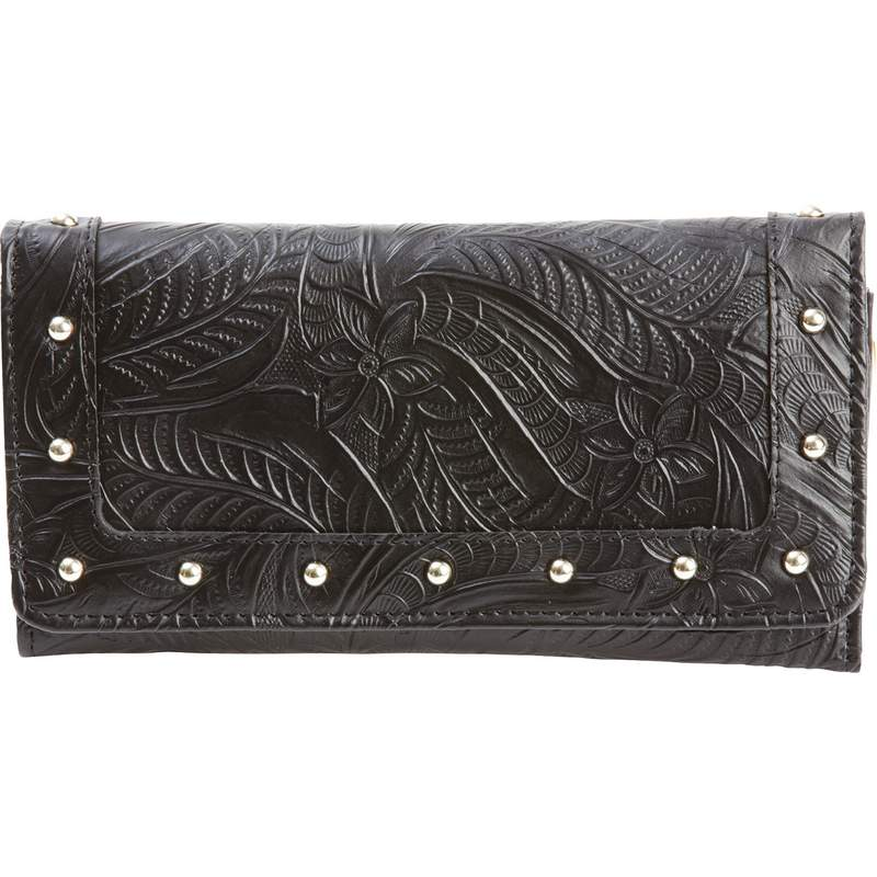 Embossed Ladies LEATHER WALLET with Rivets