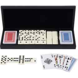 Wholesale 28pc Domino Set with 2 Decks of Cards in Wood Gift Box for sale at bulk cheap prices!