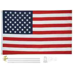 Wholesale 5 x 3 United States Flag and Pole Kit for sale at bulk cheap prices!