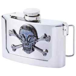 Wholesale 3oz Belt Buckle Flask with Skull & Crossbones for sale at bulk cheap prices!