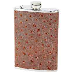8oz Flask with Faux Ostrich Leather Wrap