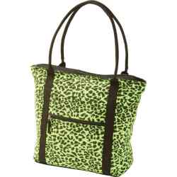 Wholesale Neon Green Leopard Print Shopping Tote for sale at  bulk cheap prices!