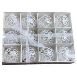12pk 60mm transparent white swirl ball ornaments - Christmas Ball Ornaments Bulk