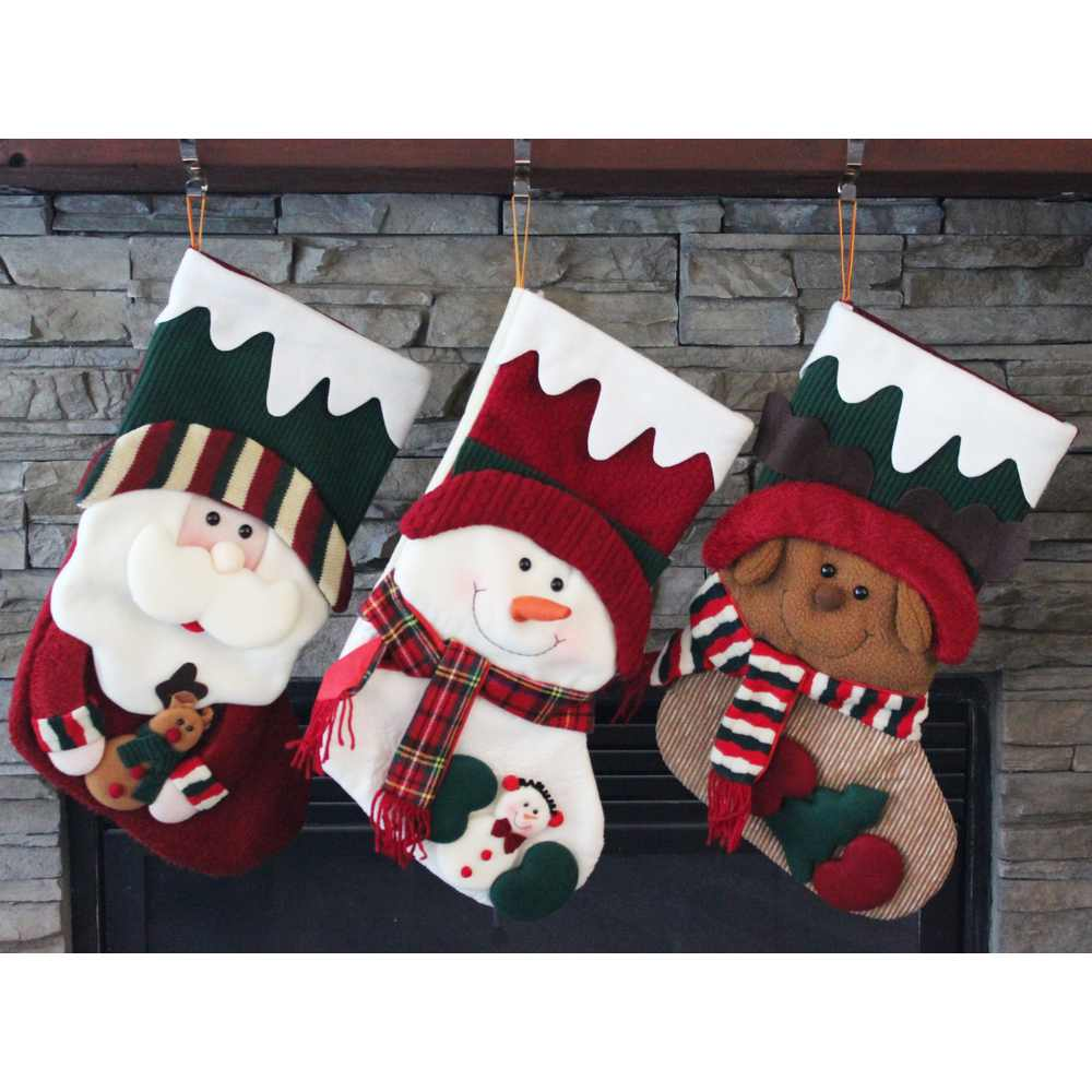 plush 3d style holiday christmas stocking set qy36274abc