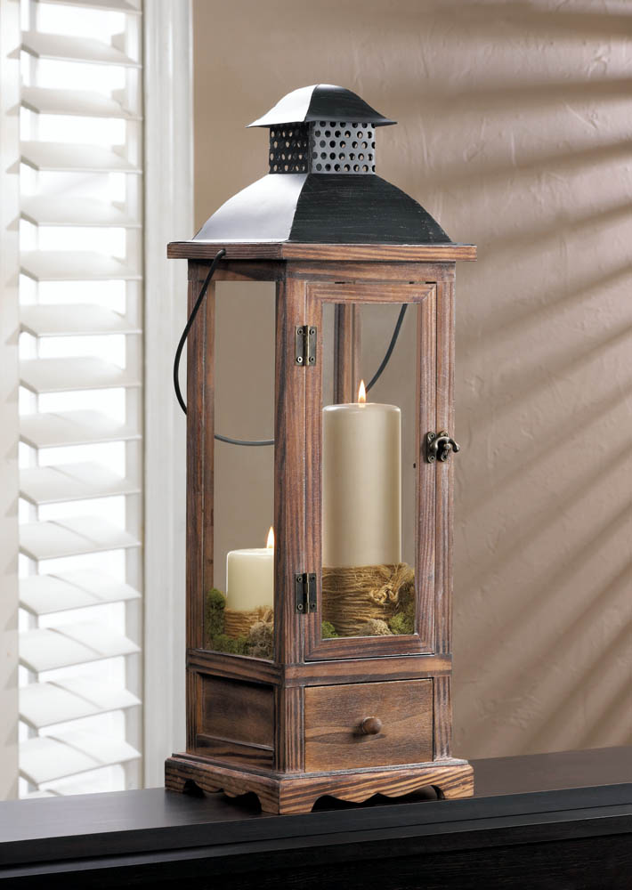 Wholesale large wooden lantern with drawer buy