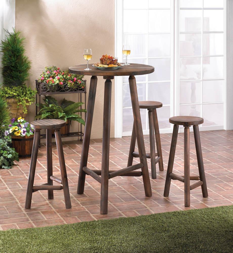 fir wood bar table and stools set 10017505 - Wooden Bar Table