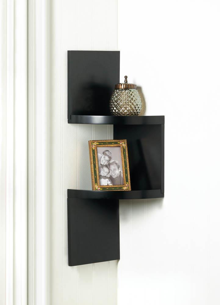 Wholesale Zig Zag 2 Tier Corner Wall Shelf Black Buy