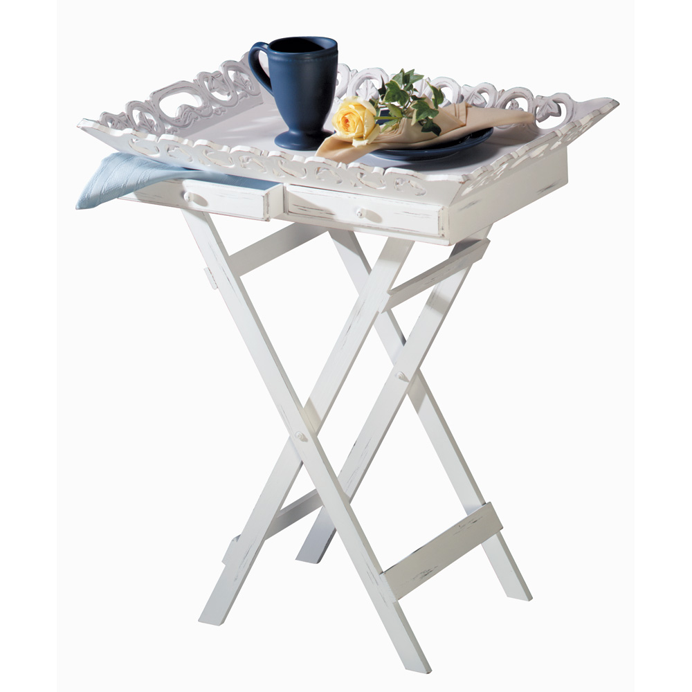 Distressed White Wood Tray Table - 33139
