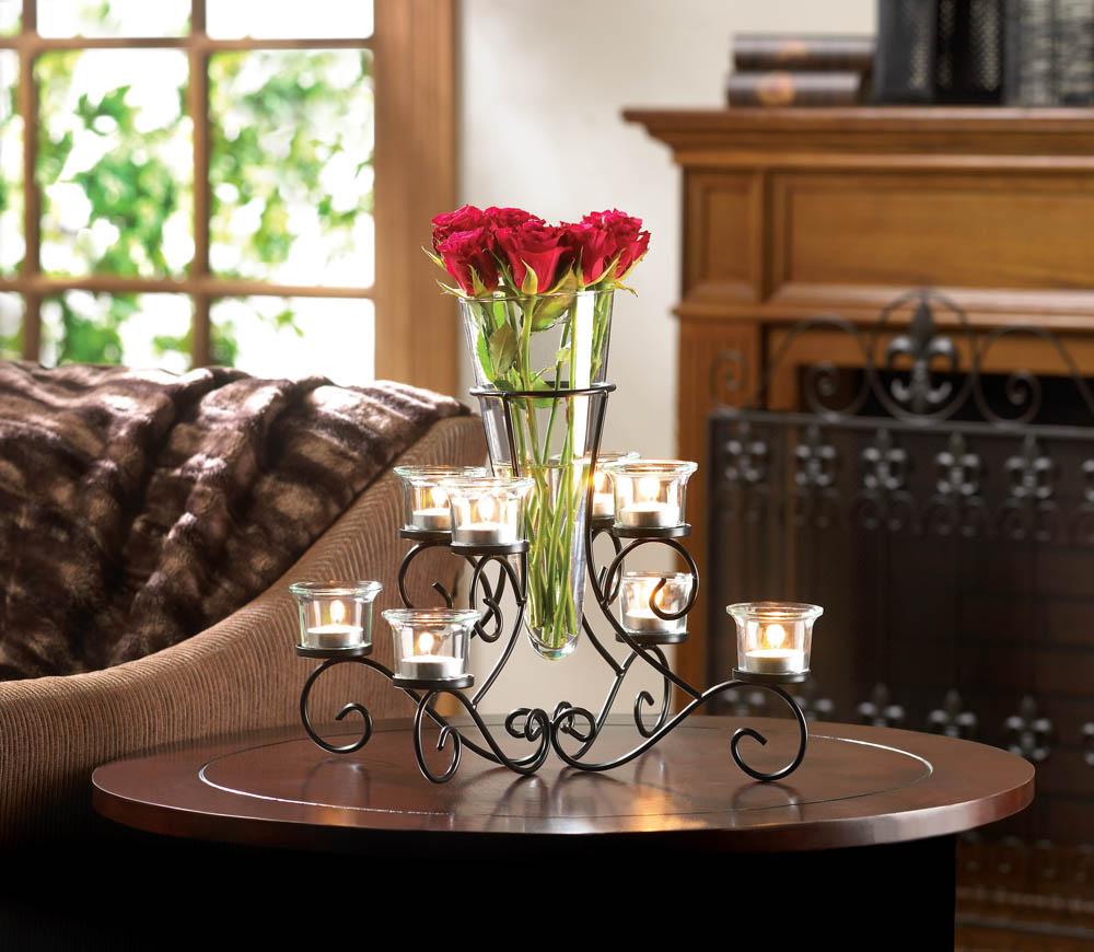 3 black candelabra Candle holder flower VASE floral wedding table centerpiece
