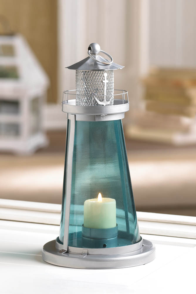 Wholesale blue glass watch tower candle lamp buy for Cheap decorative items