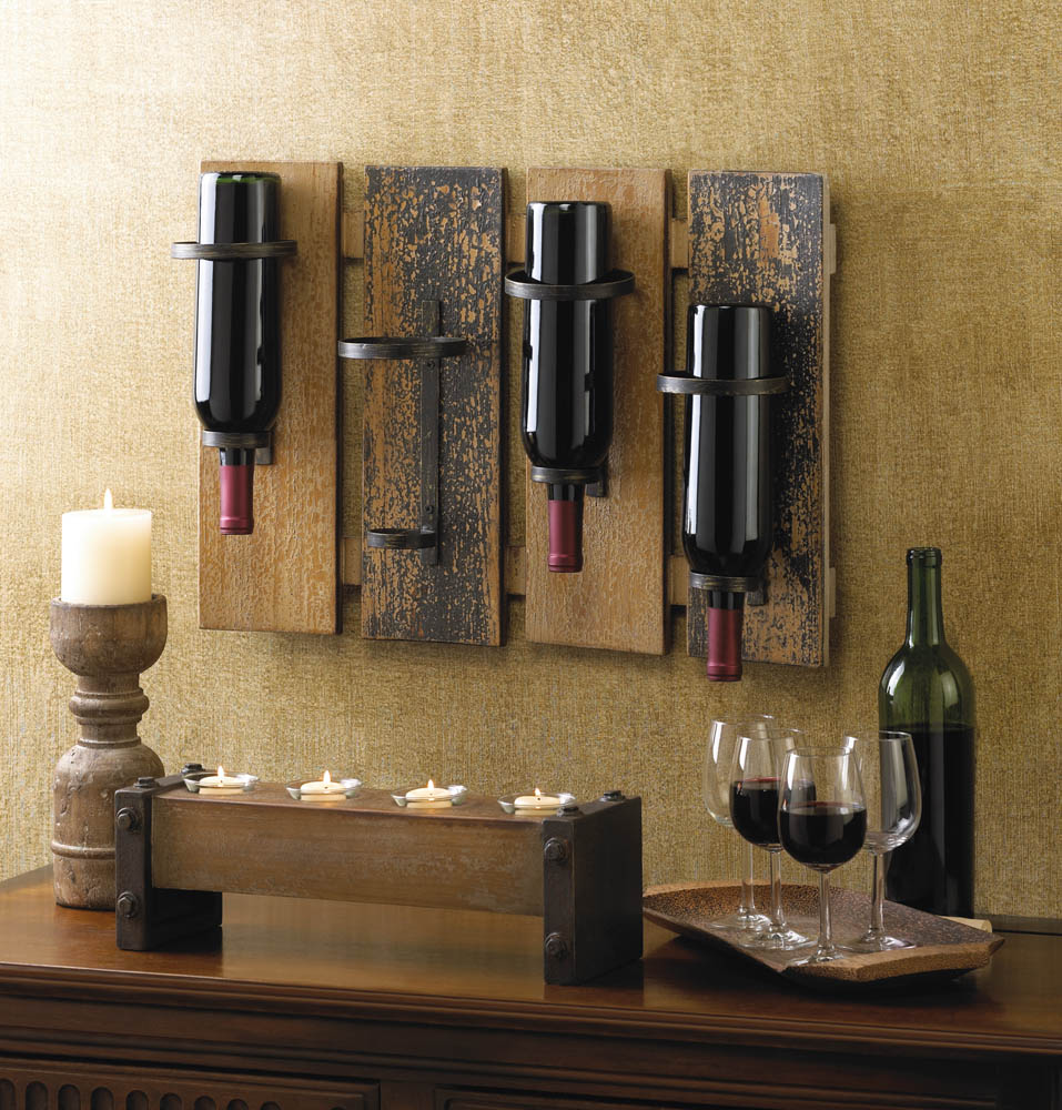 Rustic Wall Wine Racks Indie Decoration Mounting A Rustic Wine