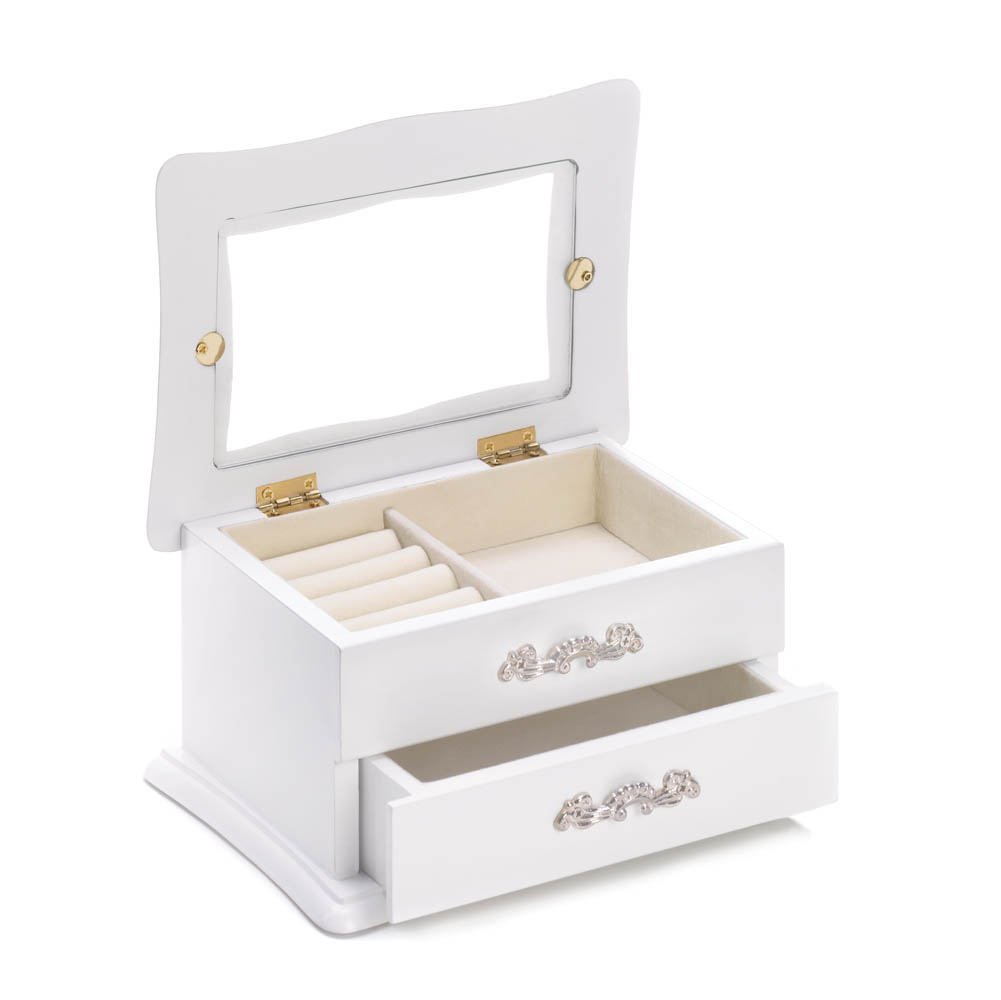 They can tuck their favorite treasures and keepsakes in this carefully crafted collection. A classic white finish and pretty details like music from Swan Lake and a turning ballerina make it an extra special gift that they'll cherish for years t.