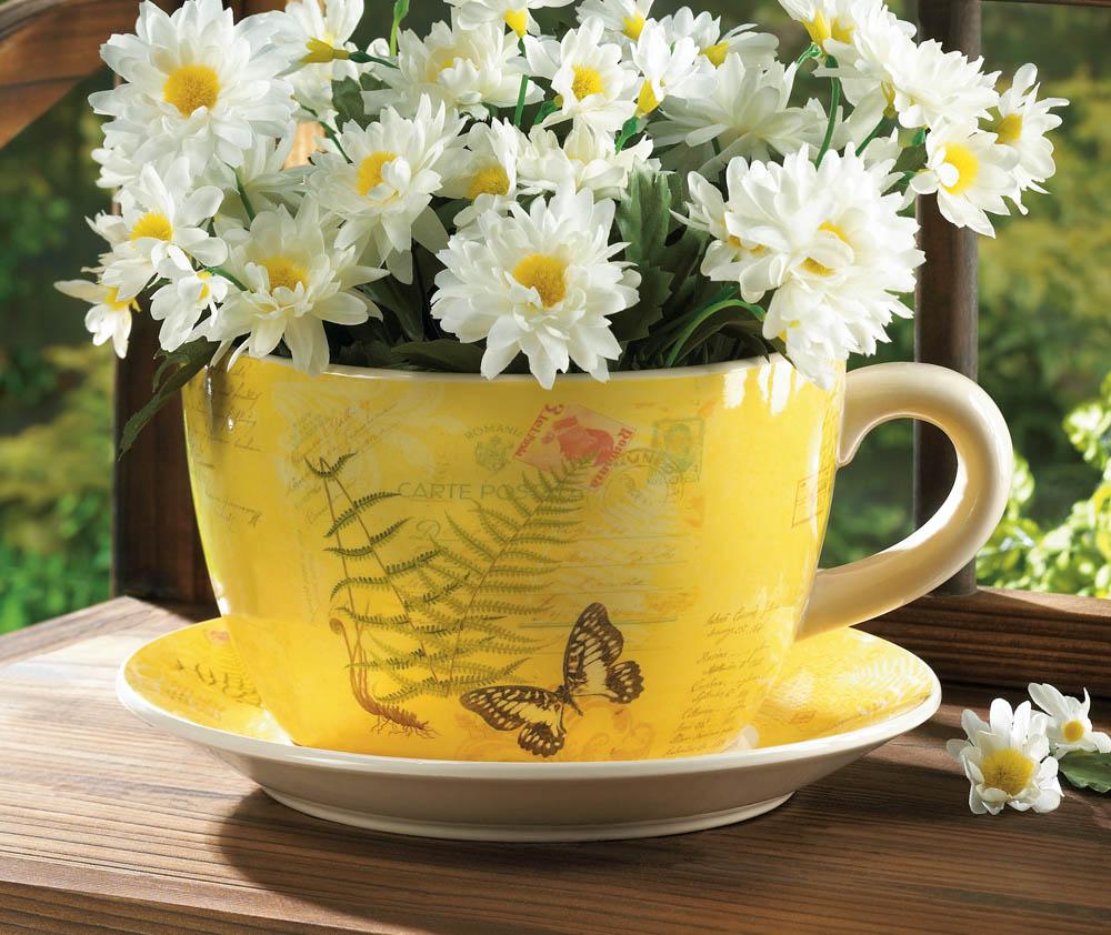 Garden Butterfly Teacup Planter