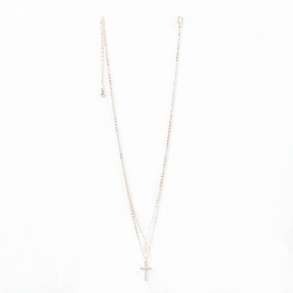 Faithful Cross Double Chain Necklace
