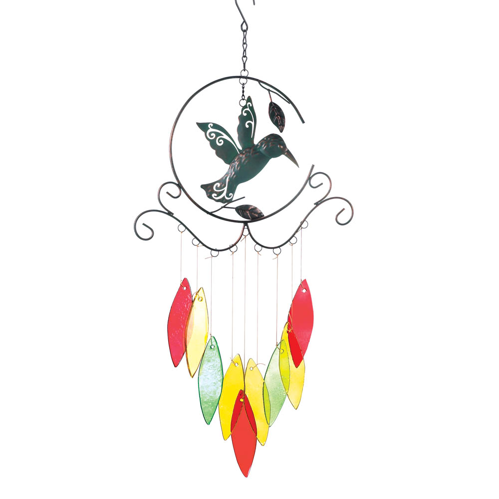 Hummingbird With Colorful WIND CHIMES