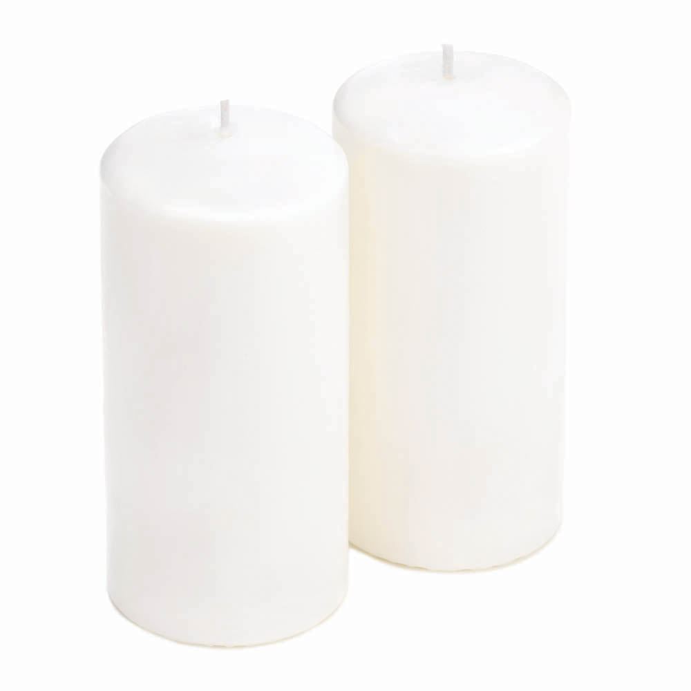 """Wholesale 5 3/4"""" White Pillar Candle Duo for sale at  bulk cheap prices!"""