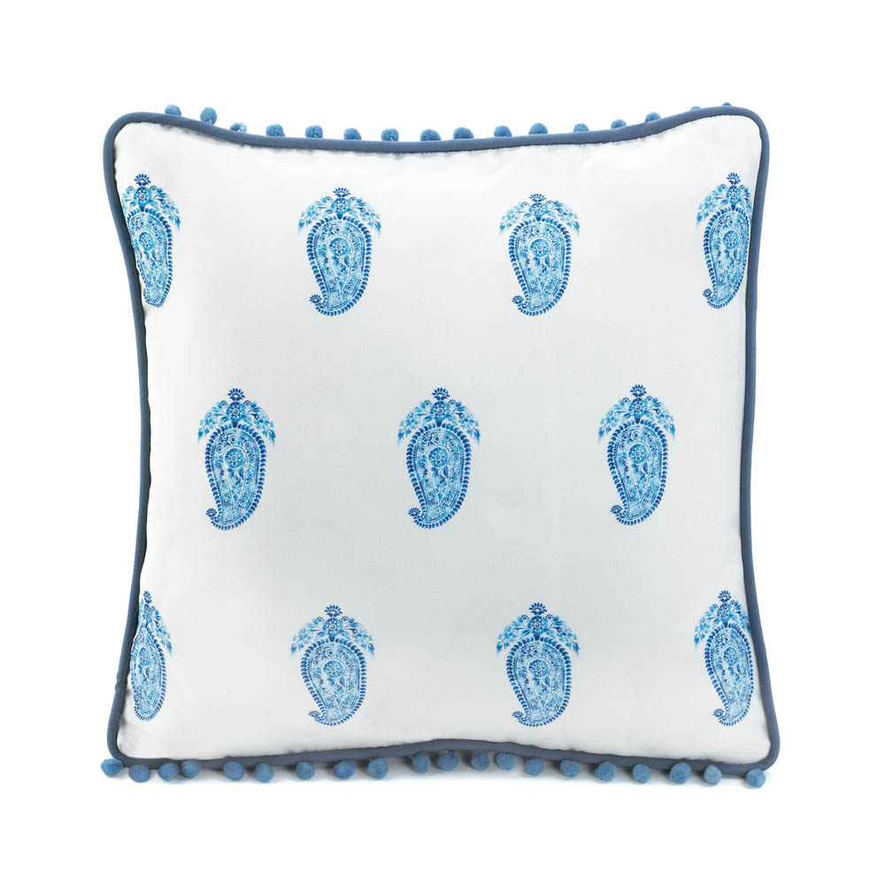 Square Tasseled Blue Paisley Pillow