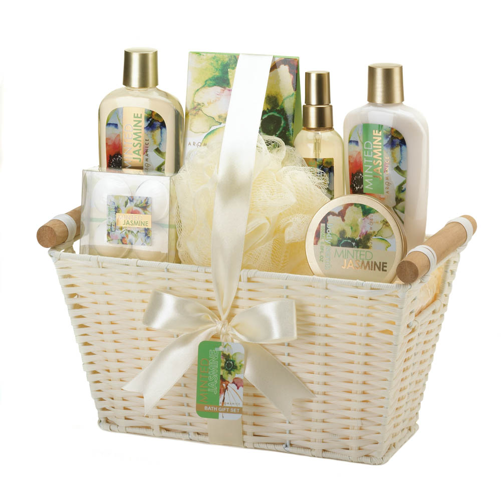 Wholesale Minted Jasmine White Basket Spa Set - Buy Wholesale Bath Sets