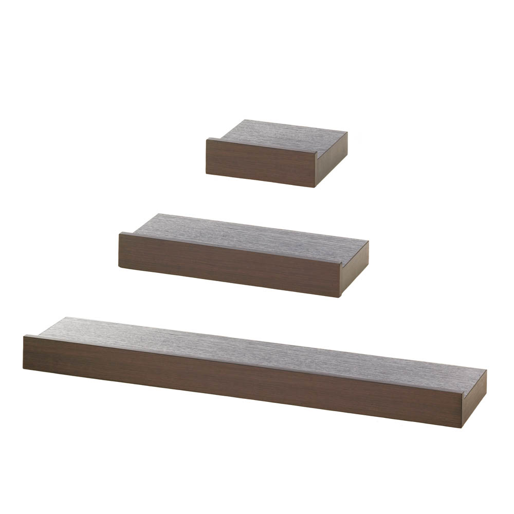 Wholesale floating wall shelf trio espresso buy for Cheap floating shelves