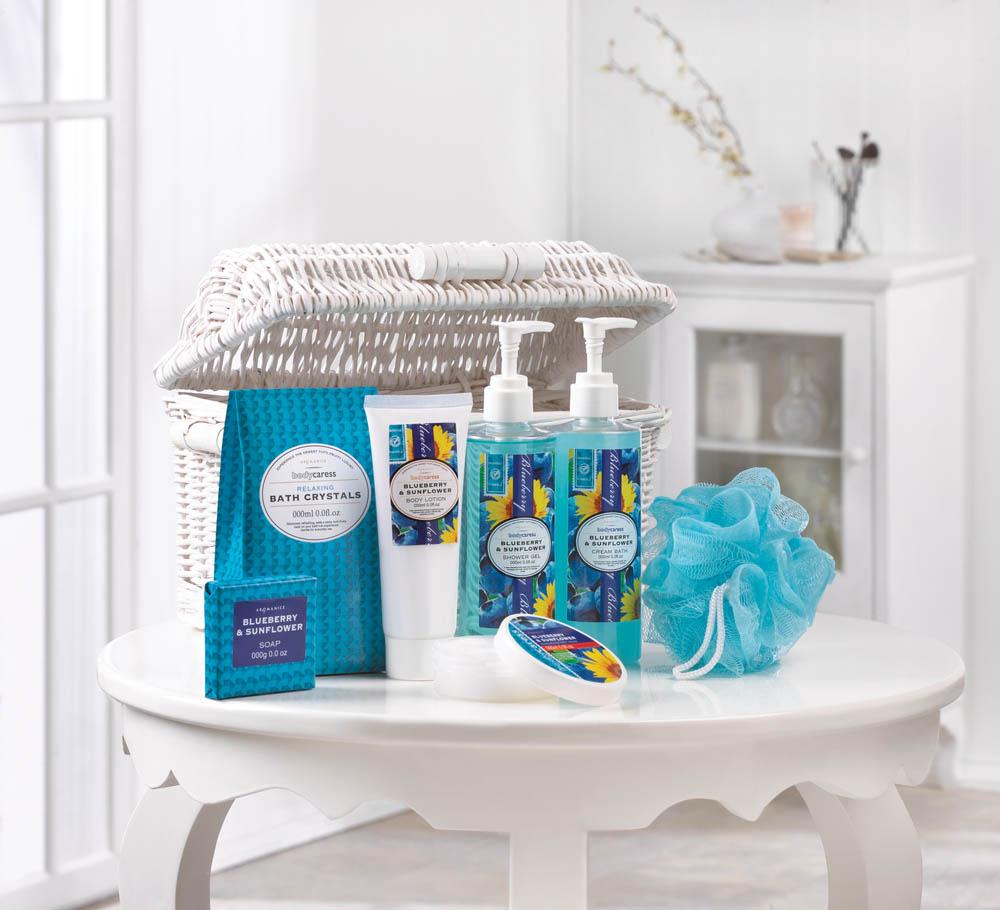 Wholesale Blueberry & Sunflower Spa Basket - Buy Wholesale Bath Sets