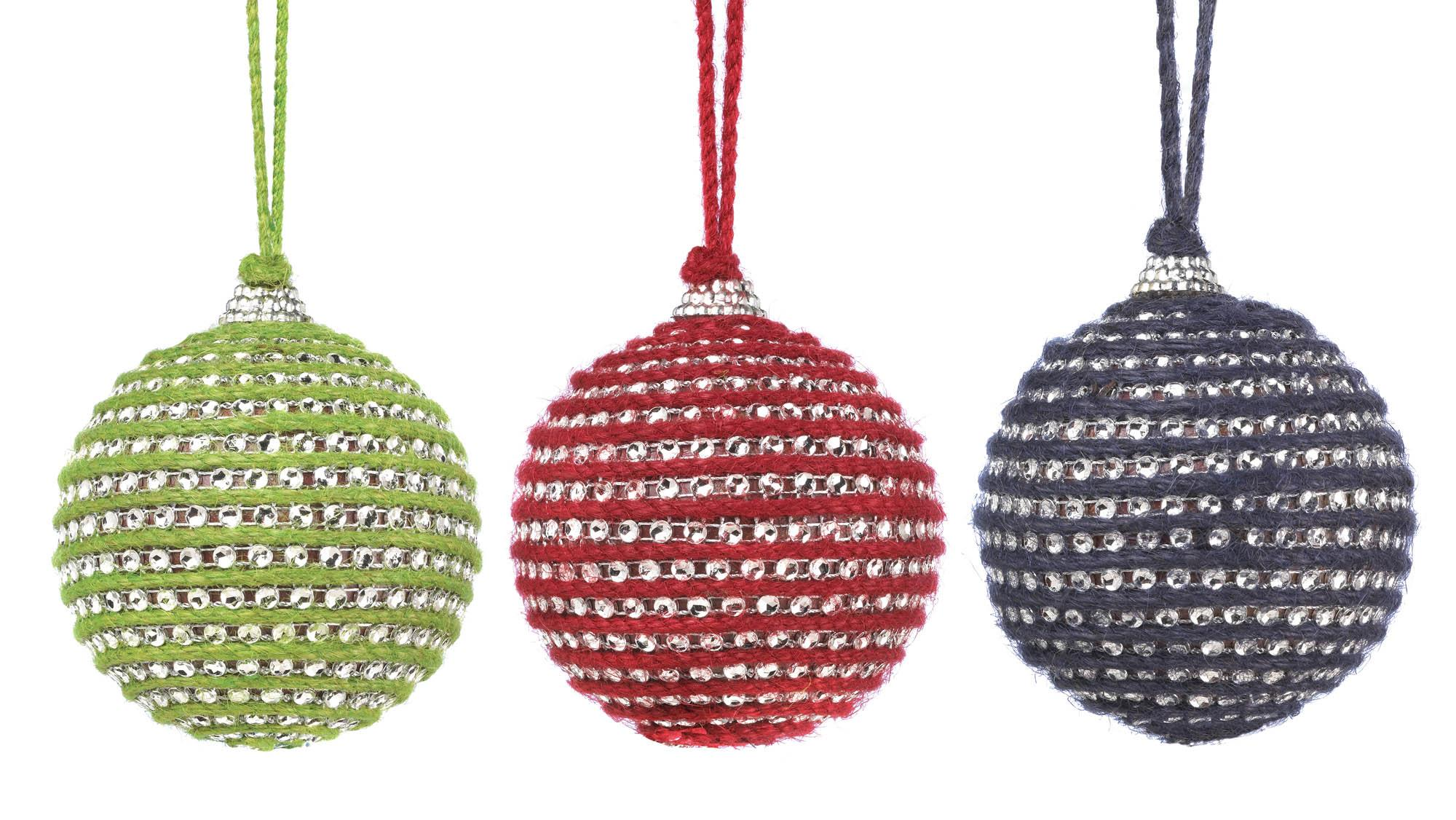 Bulk Christmas Ornaments.Wholesale Holiday Jute Ball Ornament Trio