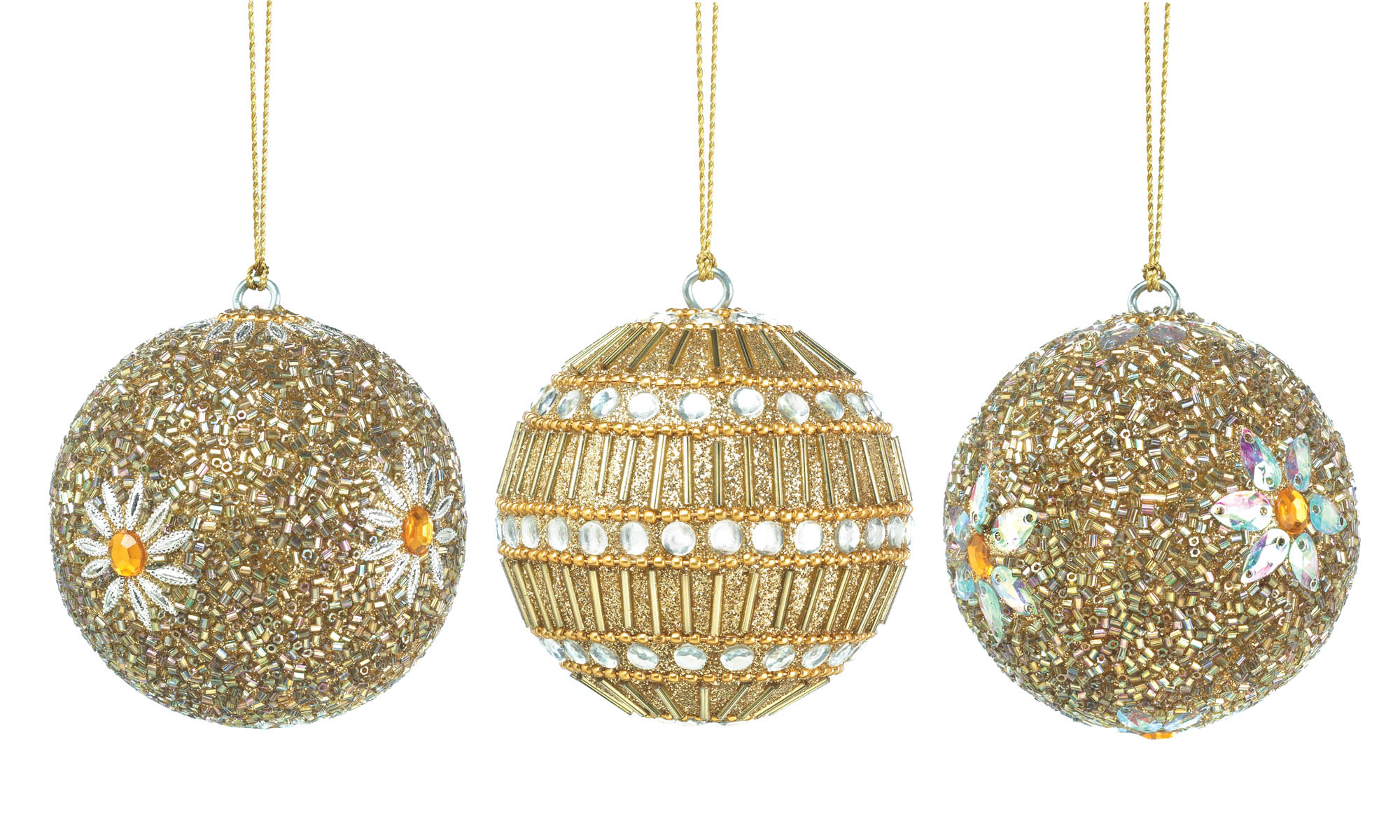 wholesale golden beaded ball ornament trio for sale at bulk cheap prices - Christmas Ball Ornaments Bulk