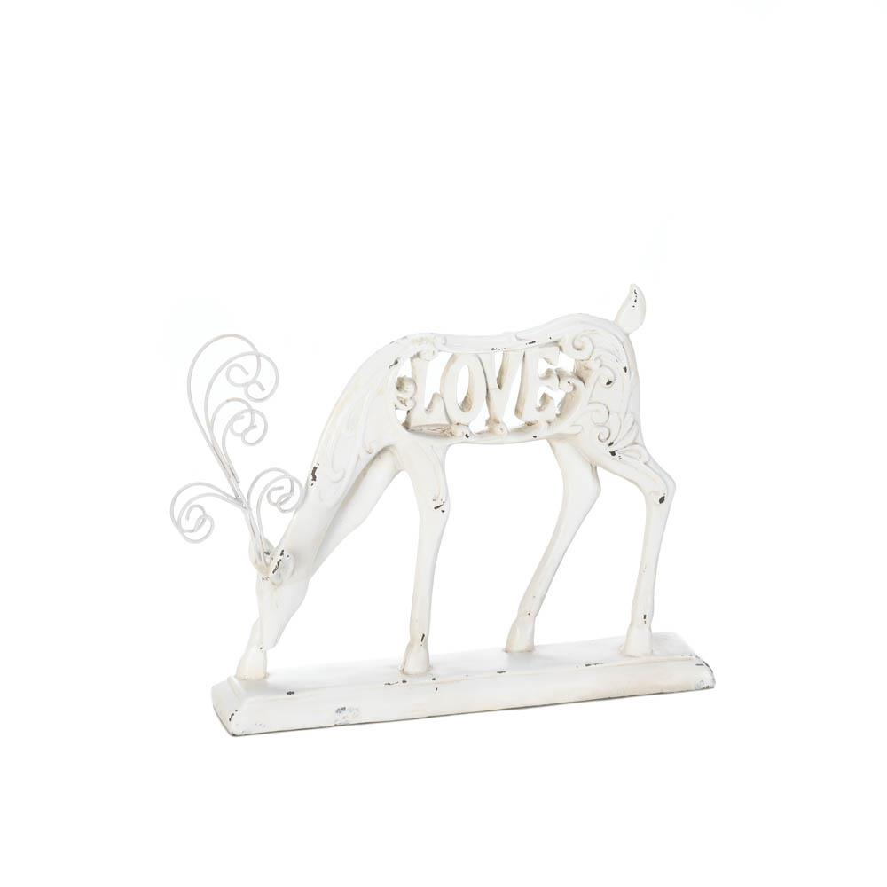 White Love Reindeer FIGURINE