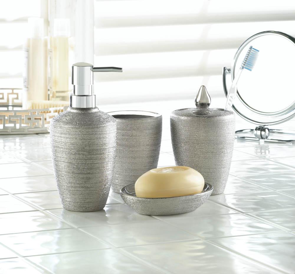 Wholesale Silver Shimmer Bath Accessory Set - Buy Wholesale Bathroom ...