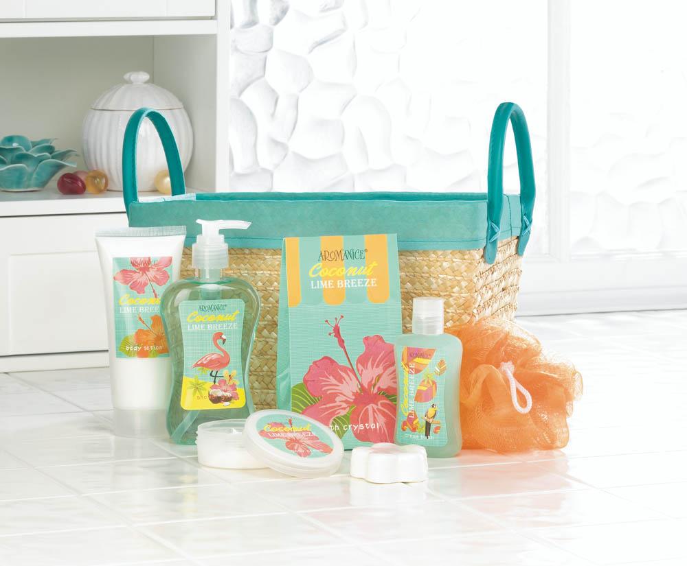 Wholesale Coconut Lime Tropical Spa Basket Set - Buy Wholesale Bath Sets