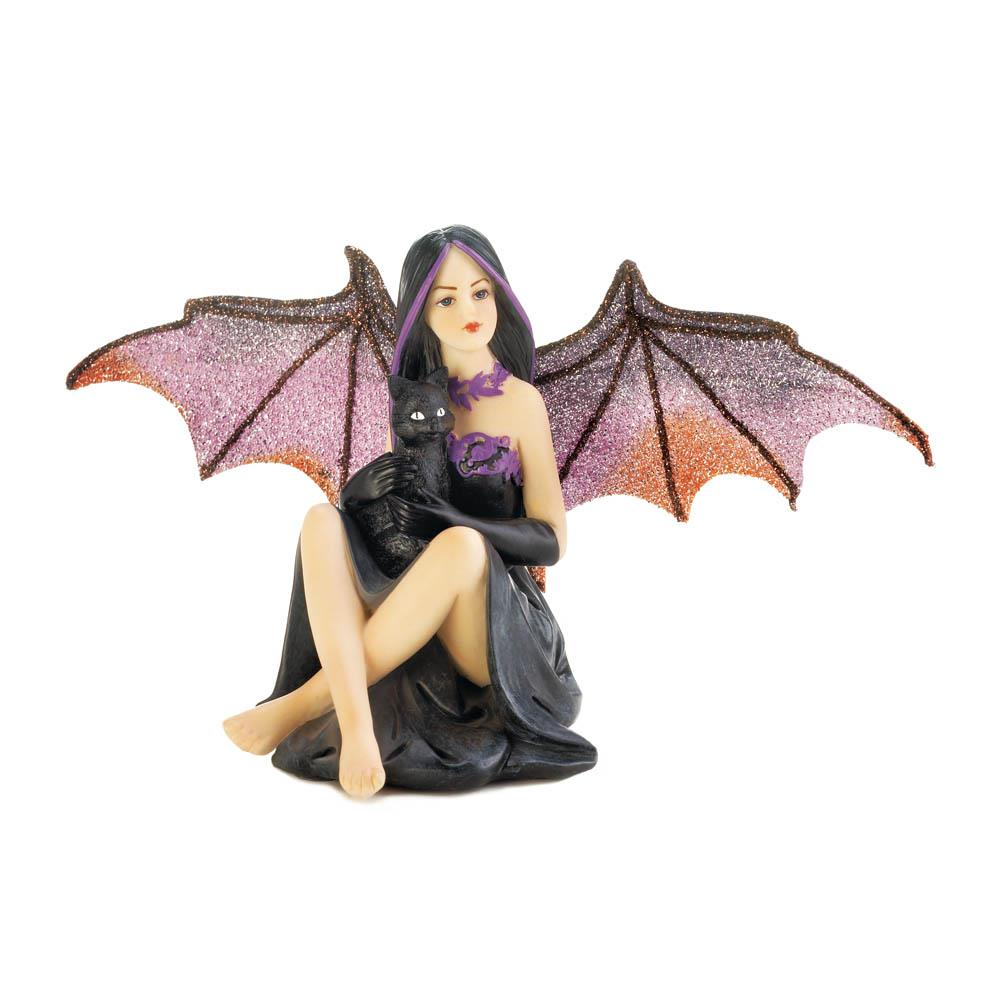 Bat Fairy With Cat FIGURINE
