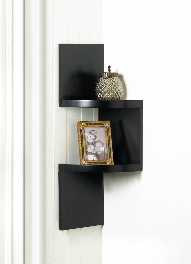 Wholesale Zig Zag 2-Tier Corner Wall Shelf - Black - Buy Wholesale ...