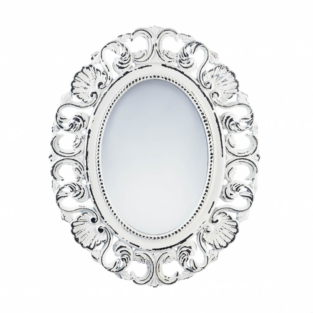 Wholesale Off White Distressed Scallop Wall Mirror Buy Wholesale