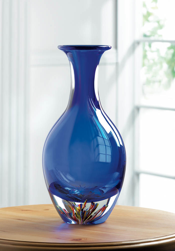 Wholesale Blue Art Glass Bottleneck Vase Buy Wholesale Glass Art