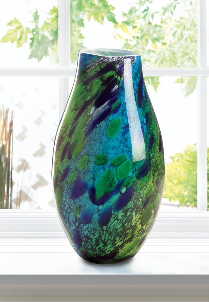 Wholesale Peacock Inspired Art Glass Vase Buy Wholesale Vases