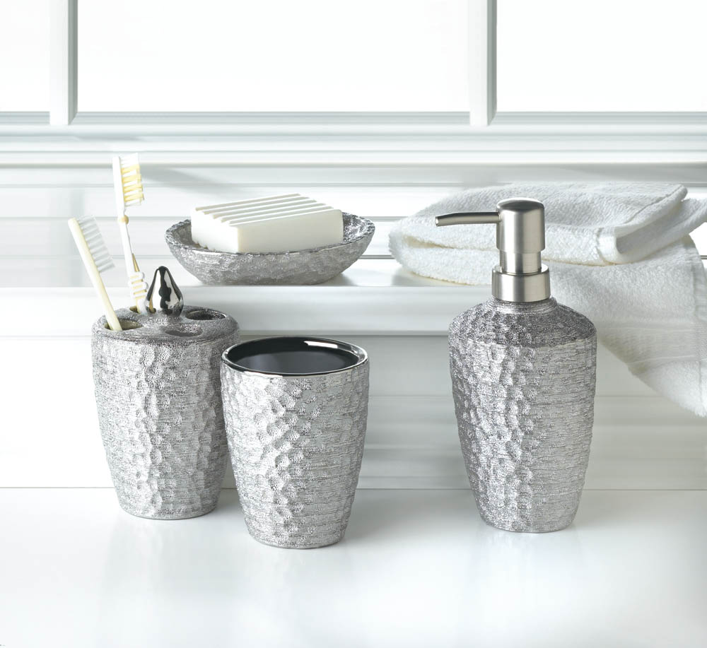 Wholesale Hammered Silver Texture Bath Accessories