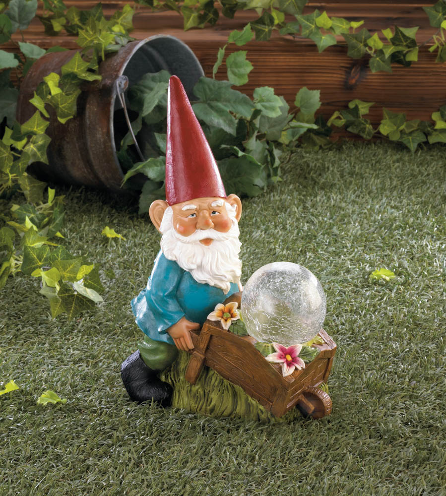 Wholesale Gnome With Wheel Barrow Solar Statue Buy Wholesale