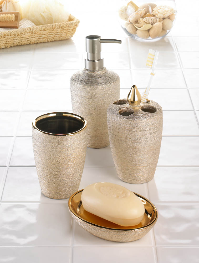 Wholesale Golden Shimmer Bath Accessories - Buy Wholesale Bathroom Decor