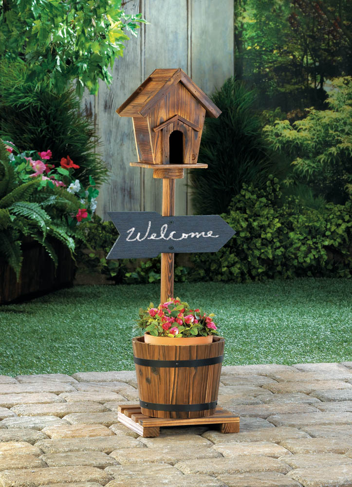 Wholesale Welcome Birdhouse Rustic Barrel Planter For Sale In Bulk At Cheap  Prices.